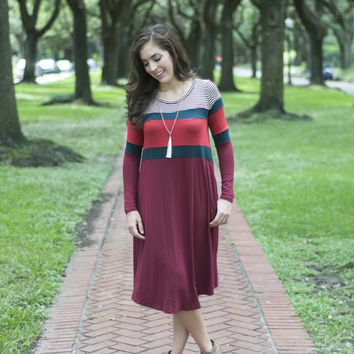Striped Everyday Dress | Red | Dress | Fall 816