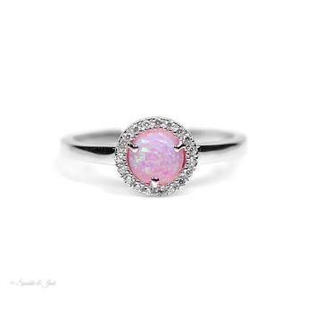 Sterling Silver Light Pink Round Opal and CZ Halo Ring