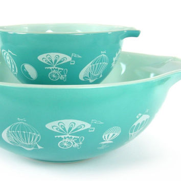 Vintage Pyrex Hot Air Balloons Turquoise Cinderella Bowls / Chip & Dip Set in Excellent Condition / Circus Theme Promotional