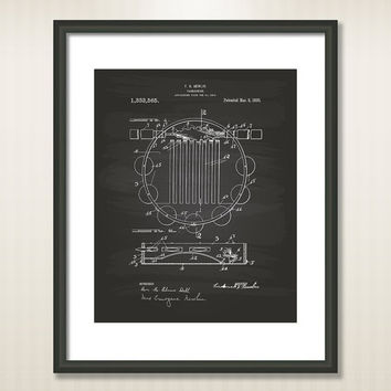 Tambourine Musical Instrument 1920 Patent Art Illustration - Drawing - Printable INSTANT DOWNLOAD - Get 5 colors background