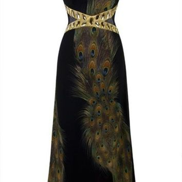 DCCKIX3 Black Peacock Dress Floor Length Open Back Sexy vestido de festa Cheap Evening Dress For Party 2015 = 1946421188