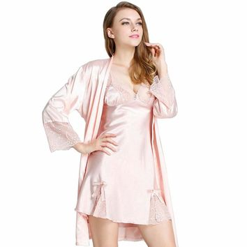 Women Robe Sets Solid Bathrobes Lace Embroidery Sleepwear Sexy V-Neck Nightgowns Para Mujer Pijama