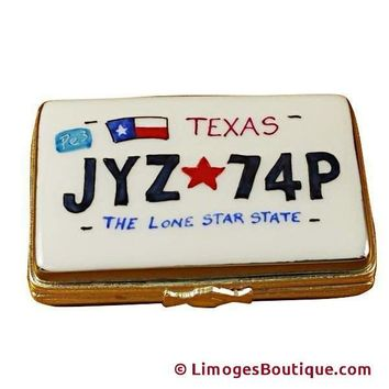 TEXAS LICENSE PLATE LIMOGES BOXES
