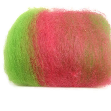Hand Dyed Batts Raspberry and Lime Sherbet by flickertailfibers