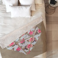 Allyson Johnson Floral Diamond Fleece Throw Blanket