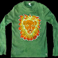 Children's Animal Lion Cat Batik Long SLeeve Tshirt in Emerald Green and Brown SIzes 2-16
