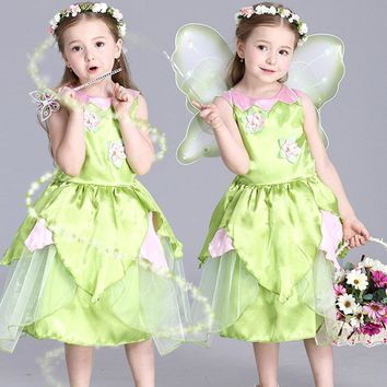 2017 New Tinkerbell princess Woodland Fairy Dress Cosplay Costume for Girls Green Fairy Dress for 3-10Y kids
