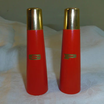 Vintage Atomic Salt And Pepper Shakers Red Painted Wood Bras