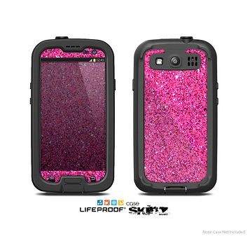 The Pink Sparkly Glitter Ultra Metallic Skin For The Samsung Galaxy S3 LifeProof Case