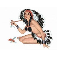 NEW! Retro Pinup Girl Brunette Indian Peace Pipe Vintage Poster Wall Art Decor