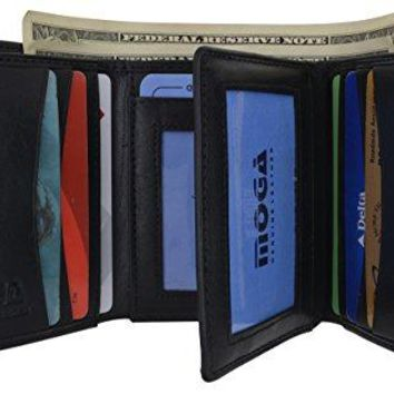 Moga Trifold Genuine Leather Credit Card Holder Wallet for Men with Double ID Window (1, Black)