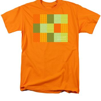 Patchwork Patterns - Orange and Olive T-Shirt for Sale by Shawna Rowe