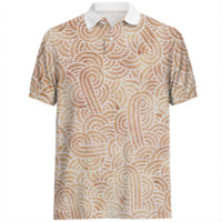 Iced coffee and white swirls doodles Polo Shirt