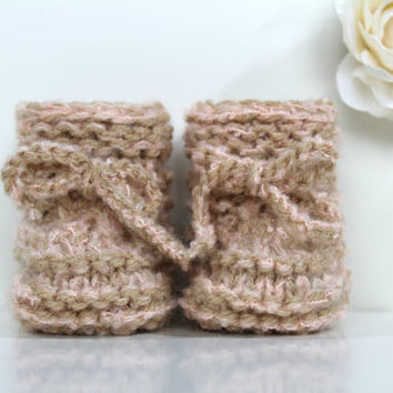 Blush Pink Baby Girl Shoes, Knitted Newborn Booties, Baby Girl Booties