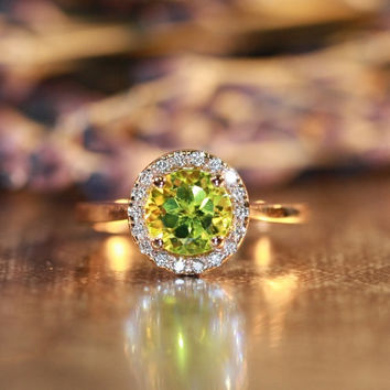 Natural Gemstone Peridot Engagement Ring in 14k Rose Gold Halo Diamond Ring 7x7mm Green Peridot Ring (Bridal Wedding Ring Set Available)
