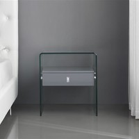 Casabianca Home BARI CB-J052-GRAY Nightstand / End Table High Gloss Gray Lacquer