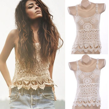 Hot Womens Sleeveless Sexy Lace Crochet Hollow Cami Shirt Vest Tops Blouse  F_F = 1904487044