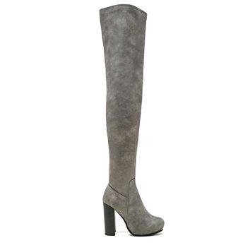 Jeffrey Campbell Kitsap- Grey Over-The-Knee Boot