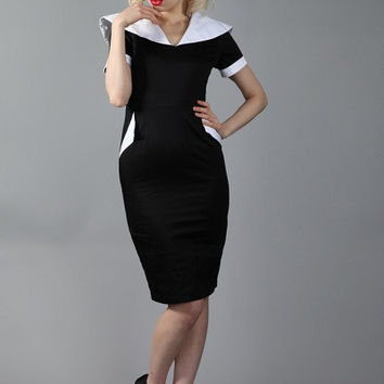 cf-penny Retro fitted black and white dress