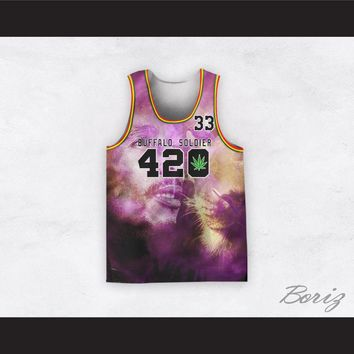 Bob Marley 33 420 Buffalo Soldier Purple Portrait with Lion Basketball Jersey
