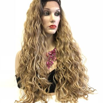 Blonde Ombre Balayage' Swiss Lace Front Wig | 4x4 Multi Parting Volume Curly Layered Hair | Bianca