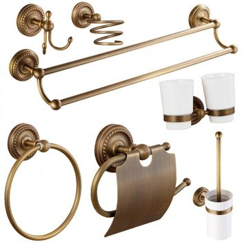 Antique Solid Brass Bathroom Accessories Bronze Toilet Paper Holders\Brushed Clothes Hook\Toothbrush Holder Bathroom Products