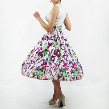 Midi Skirt - Tea Length Skirt, 50's Skirt, High Waist Skirt, Floral skirt, Full Skirt, Cotton Midi Skirt, Plus Size Skirt