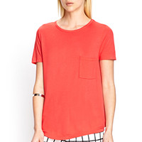 FOREVER 21 Slouchy Knit Pocket Tee Coral
