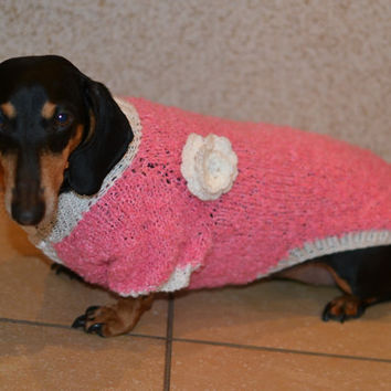 Pink and white  Dog Sweater Clothes Hand Knitting  dachshund medium dog soft white flower