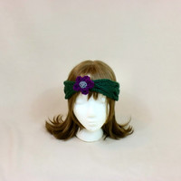 Flower Headband Knit Earwarmer Purple Green Grey Ear Muffs