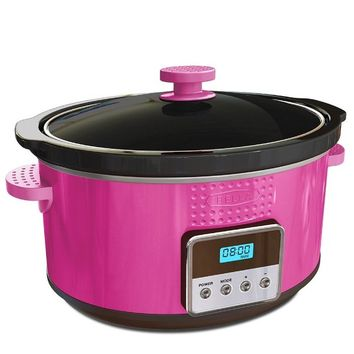 BELLA 13998 Dots Collection Programmable Slow Cooker, 5-Quart, Pink