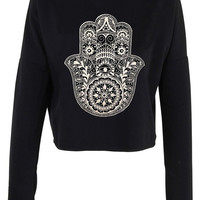 Henna Hand hamsa print crop top shirt womens ladies crop sweat