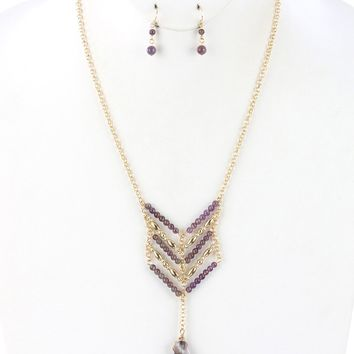 Purple Natural Stone Pendant Chevron Layered Necklace And Earring Set