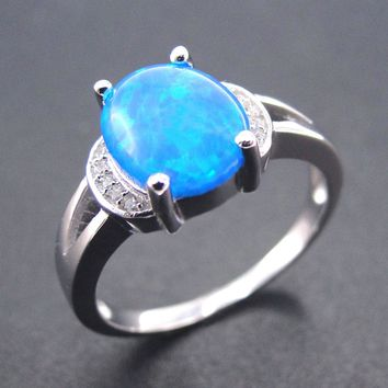 2017 Fine Opal Jewelry 100% 925 Sterling Silver Rings Blue Fire Opal Ring Women Rings for Wedding party Engagement Size 5/6/7/8