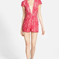 Women's Missguided Plunging Lace Romper,