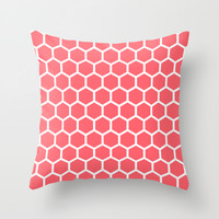 Honeycomb Coral Throw Pillow by Beautiful Homes