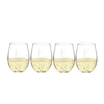 Personalized 19.25 oz. Gold Dot Stemless Wine Glasses (Set of 4)