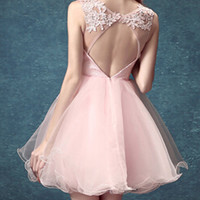 Pink Sequin Crystal Sheer Crochet Open Back Tulle Homecoming Dress