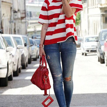 Red and White Striped Knit T-Shirt