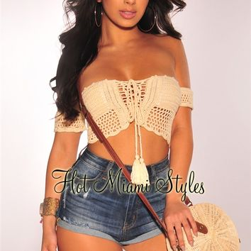 Cream Embroidered Crochet Off Shoulder Lace Up Crop Top