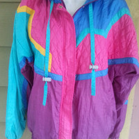 Vintage 80s Colorblock Baggy Windsuit Jacket Windbreaker Size Petite Large