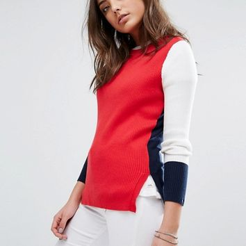 Hilfiger Denim Colour Block Knitted Jumper at asos.com