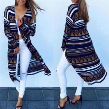 Crochet Knitted Aztec Pattern Cute Women Long Cardigan Ladies Sweater