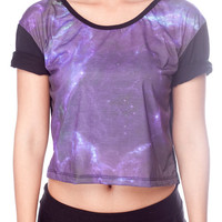 Black Hole Cropped Top Universe Star Cluster Galaxy Shirts Women Crop Shirt Black Tank Top Women T-Shirt Size S M