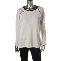 Willow & Clay Womens French Terry Faux Leather Pullover Sweater