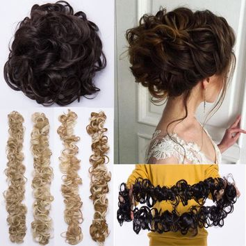 Curly Wavy Twirl Messy Bun Scrunchie Natural Hair Extensions Pontail Hair Piece