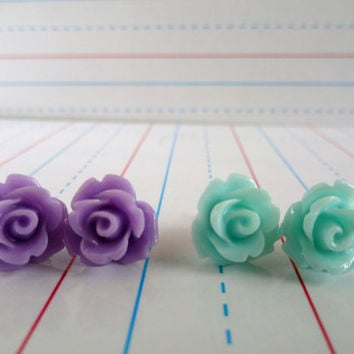 Girl's Flower Post Earrings, Set of Two, Lavender Purple and Frost Blue