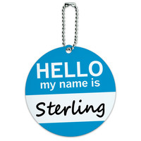 Sterling Hello My Name Is Round ID Card Luggage Tag