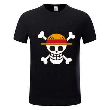 One Piece T shirt 2017 Fashion Japanese Anime Clothing Back Color Luffy Cotton T-shirt For Man And Women,Brand Camiseta,GMT009