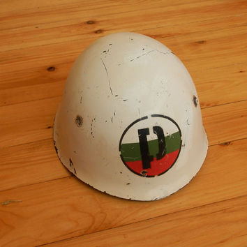 World War II White Helmet  Bulgarian Army Military Police, Communist Army helmet M-51, Steel Helmet, used